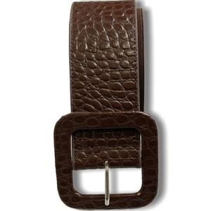 CHICO'S M/L Brown Leather Belt with Stretch Insert